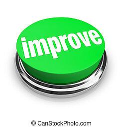 -, ボタン, 緑, 改良しなさい