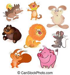 -, マウス, 動物, 面白い, セット, 8