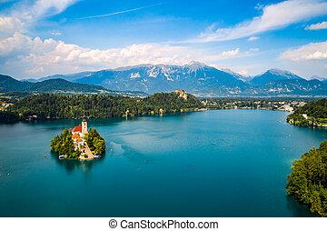 -, リゾート, 湖, bled., スロベニア