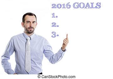 -, ワイシャツ, ビジネスマン, 小さい, ゴール, 2016, 青, 指すこと, ひげ, の上, 若い