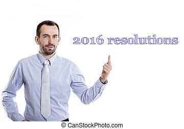 -, ワイシャツ, ビジネスマン, 小さい, 2016, 青, 指すこと, ひげ, の上, 若い, resolutions