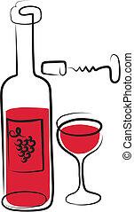 -, ワイン, 2, セット