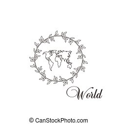 -, 世界, map., 平ら, 美しい, ベクトル, 旅行観光, アイコン