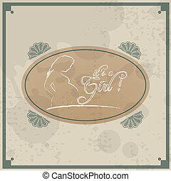 -, 主題, レトロ, 女の赤ん坊, ∥そ∥, カード
