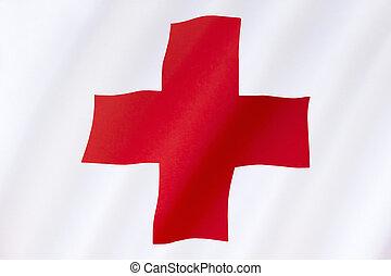 -, 交差点, 旗, インターナショナル, 援助, 赤