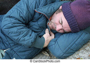 -, 人, クローズアップ, ホームレスである, 睡眠