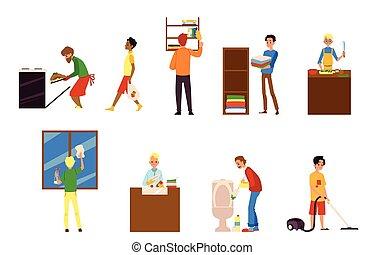 -, 人, 卡通漫画, 烹调, 打扫, 家务劳动, 放置, 家庭杂务