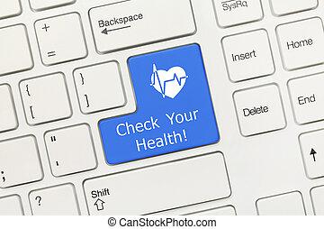 -, 你, 健康,  hea, 鑰匙, 鍵盤, 概念性,  (blue, 白色, 檢查