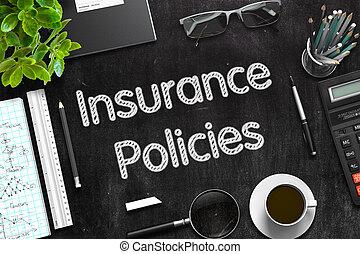 -, 保険, rendering., テキスト, 黒, chalkboard., policies, 3d