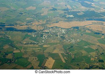 -, 光景, フィールド, 川, 航空写真, 都市