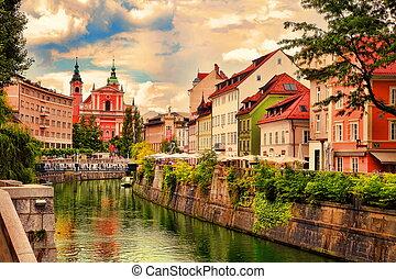 -, 光景, 2014:, 都市, スロベニア, ljubljana, 中心, -slovenia, river., 中心, ビジネス, 文化, ljubljana, 7月, 28, country.