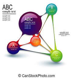 -, 分子, テンプレート, infographics