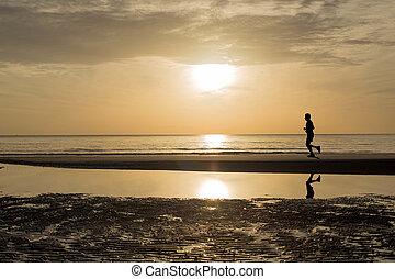 -, 動くこと, 日没 浜, 日の出, 人