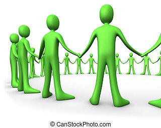 -, 合併した, 緑, 人々