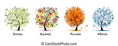-, 四, 艺术, 秋季, 美丽, 树, 春天, 设计, winter., 季节, 夏天, 你
