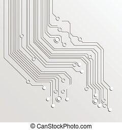 -, 回路, ベクトル, 木, 背景, 板, 3d