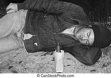 -, 地面, b&w, ホームレスである, 男睡眠