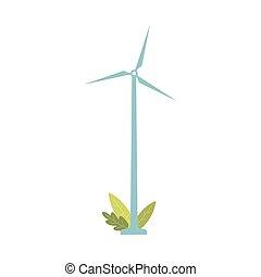 -, 変換器, 青, 支持できる, 風タービン, 力, エネルギー, 隔離された, ジェネレーター