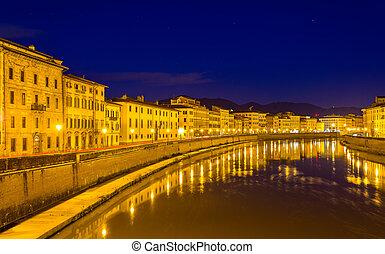 -, 夕方, イタリア, pisa, 堤防