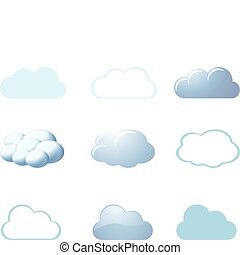 -, 天气, 云, 图标