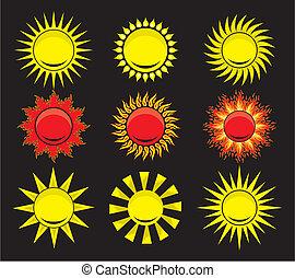 -, 太陽, 要素, デザイン