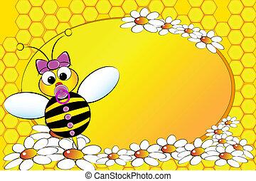 -, 女の子, 赤ん坊, 蜂, family:, イラスト, 子供