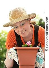 -, 女, 園芸, 若い