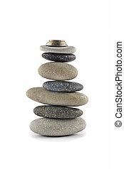 -, 安定性, 山, バランスをとられた, 石, コイン, 生活保護