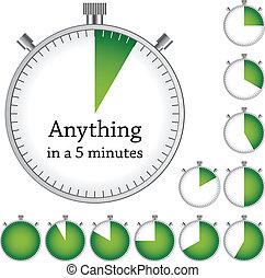 -, 定時器, 一, 矢量, 每, 變化, 容易, 時間, 分鐘
