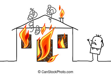 -, 家, &, 手, 漫画, 引かれる, 人, 火, 特徴