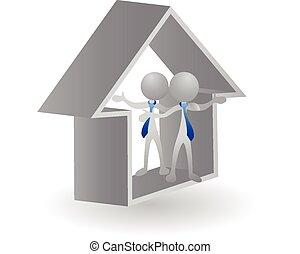 -, 家, 財産, ロゴ, 実質