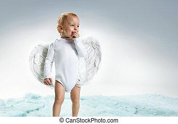 -, 小さい 男の子, かわいい, 肖像画, クローズアップ, 天使