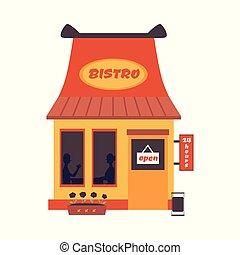 -, 建物, 漫画, 速い, ビストロ, 開いた, レストラン, 前部, ファサド, 印, 食物