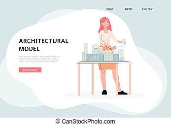 -, 建筑, 建筑师, 妇女, plan., 复杂, 模型, 卡通漫画, 建筑物, 旗帜
