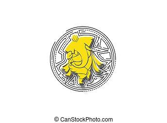 -, 引かれる, 手, ヒンズー教信徒, elephant., ベクトル, 神, illustration., ganesha