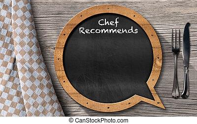 -, 形づくられた, シェフ, recommends, スピーチ, 黒板, 泡