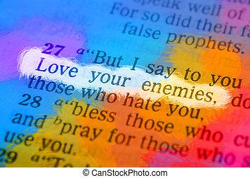 -, 愛, テキスト, 聖書, 敵, あなたの