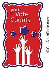 -, 手, 投票, 計算, あなたの, 上げること