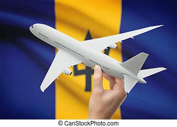 -, 手, 旗, 背景, 飛行機, バルバドス