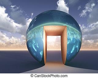 -, 抽象的, 戸オープン, 至福