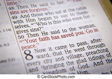 -, 持つ, テキスト, 聖書, 信頼, 救われる, あなたの, あなた