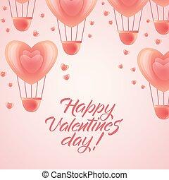 -, 挨拶, バレンタイン, 心, 風船, 日, 幸せ
