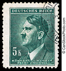 -, 描绘, 1939, 邮票, 德语, circa, hitler, c.1944:, reich., adolf