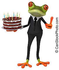 -, 描述, 乐趣, 生日, 青蛙, 蛋糕, 3d