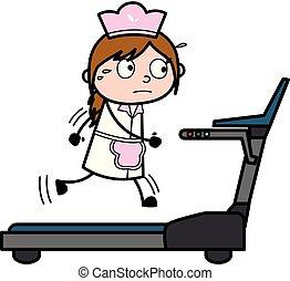 -, 描述, 厨师, 跑, 矢量, retro, 女性, treadmill, 卡通漫画, 女服务员
