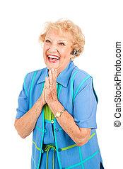 -, 携帯電話, 年長の 女性, 興奮させられた
