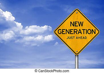 -, 新しい, 世代, 前方に, ただ
