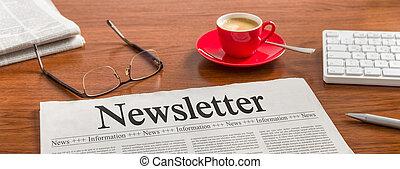 -, 木製である, 新聞, newsletter, 机