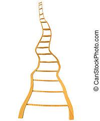 -, 木製である, 隔離された, 3d, 空, 回転, はしご, rendeing