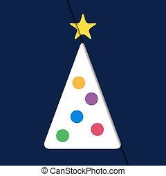 -, 木, 挨拶, 白い クリスマス, カード